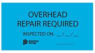 overhead repair label